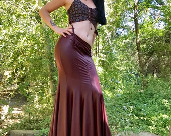 The OxBlood Red Faux (Vegan) Leather Mermaid Skirt by Opal Moon Designs (Sizes S-XL)