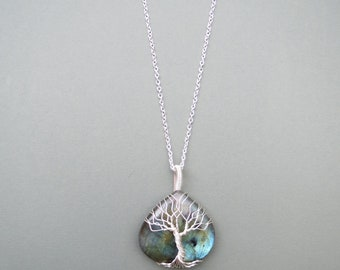 Tree Of Life Pendant, Tree Of Life Necklace, Wire Wrap Necklace, Wire Wrapping Stones, Silver jewelry, Labradorite stone, TOL055