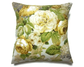 Decorative Pillow Cover Bold Floral Design Yellow Green Taupe Gray White Same Fabric Front/Back 18x18 inch x