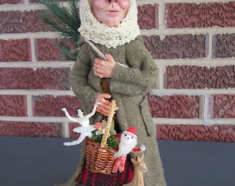 Art Doll/Art/Polymer Clay/Hand Sculpted/Sculpted/OOAK/Christmas/Collectible/Italy/One of a Kind/Old Woman