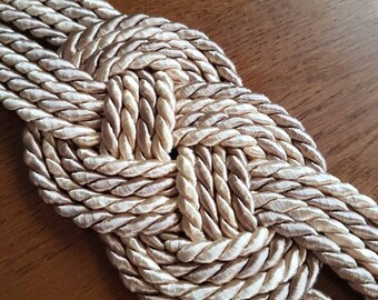 Sailor on silk cord knot belt color beige combination