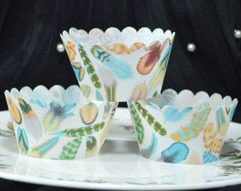 Edible Cupcake Wrappers Feathers Mango Maya Chintz x 12 Wafer Paper Wedding Cupcake Cases Decorations Wild One Birthday 1st Fairy Cake