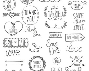 Wedding Clipart Clip Art, Commercial & Personal Use Save the date