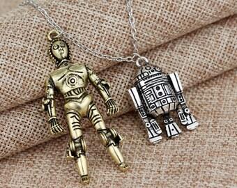 Robot R2D2 Pendant necklace Fashion Vintage Silver Gold Alloy Figures Pendant Accessories For Women And Men