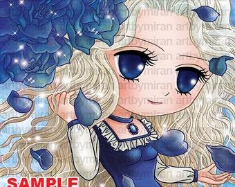Digital Stamp, Rose and girl illustration Coloring page, Instant Download Digi Stamp, Line art for Card and Craft, Art by Mi Ran Jung