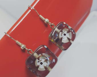 Smokey Milliefiori Squares Earrings