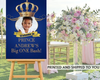 Royal Prince Party Welcome Sign, Welcome to the Party Sign, Photo Royal Birthday Welcome Sign, Foam Board Welcome Sign, Printed Welcome Sign