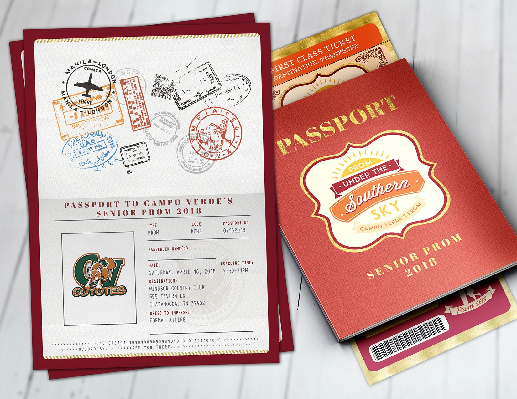 Southern, Tuscan,Prom,PASSPORT and TICKET invitation, Birthday party ...