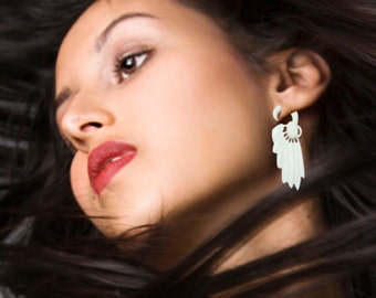 Fake Gauges, Bone Earrings, Handmade, Split, Organic, Cheaters, Tribal Jewelry, Plug, Eco Friendly - White Feather  - B12