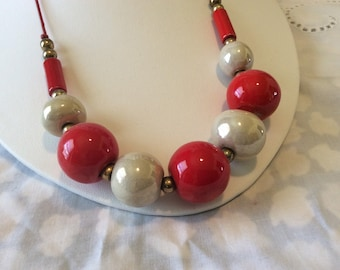 Vintage Red and White Chunky Glass Bead Statement Necklace
