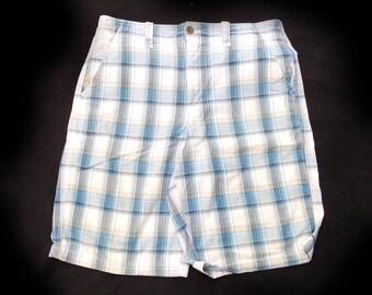Men's blue white plaid shorts -  Men's Bermuda Shorts - Cotton summer Shorts , size -34 shorts, # 36