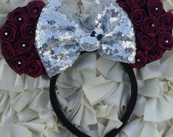 Burgundy Rose Minnie Ears