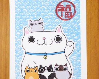 Fu Lu Shou Maneki Neko Lucky Japanese Cat Print