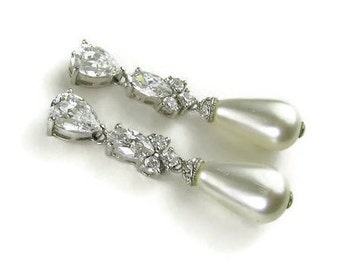 Vintage CZ Faux Pearl Dangle Earrings