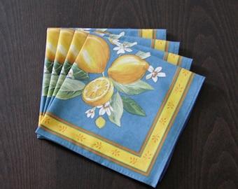 Set of 2 to 8 Cotton Napkins Provence Lemons in Blue - Set of 2 - 4 - 6 or 8 Napkins -