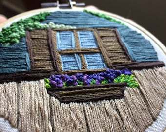 "Embroidered Cottage Window - 4"" Hoop"