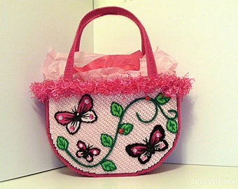 Pink black and green women's butterfly tote