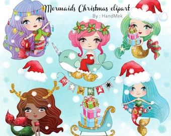 Cute Mermaid Christmas clipart instant download PNG file - 300 dpi