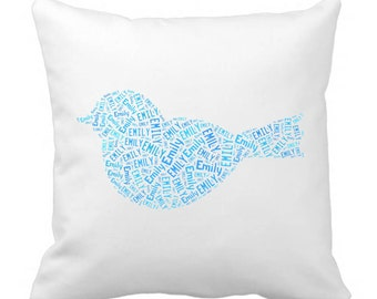 Personalized Bird Throw Pillow 20 x 20  Cover Room Decor