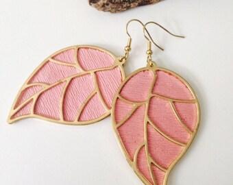 Pink Leaf Earrings.