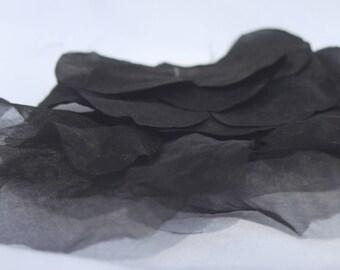 Gran cortina negra, vintage años 60 aplicar, aplique vintage de seda, pétalos de seda cortinas de ajuste y negro, vintage modista