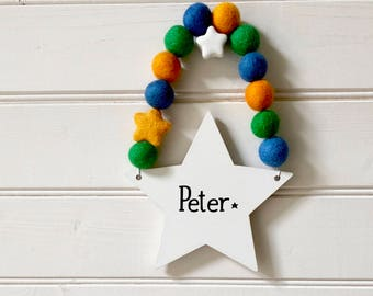 Personalised Boys Room Sign, Bedroom Sign, Wooden Star, Nursery Wall Decor, Kids Name Sign, Door Hanger, Wooden Star Sign, Housewarming Gift