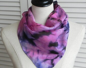 Square silk scarf hand dyed in shades of red and blue violet, ready to ship abstract silk scarf #570
