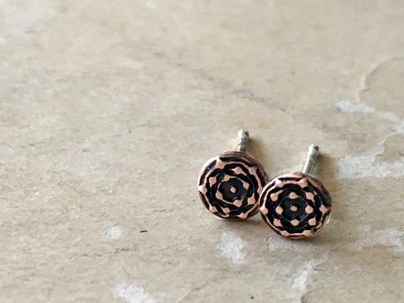 Copper Stud Earrings, Teeny Tiny Earrings, Unisex Gift Idea