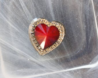 large red cabochon heart scrapbooking