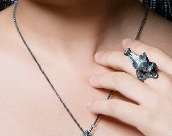 Black Silver Orchid Necklace