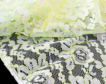 Fabric embroidered lace flowing yellow neon x50cm