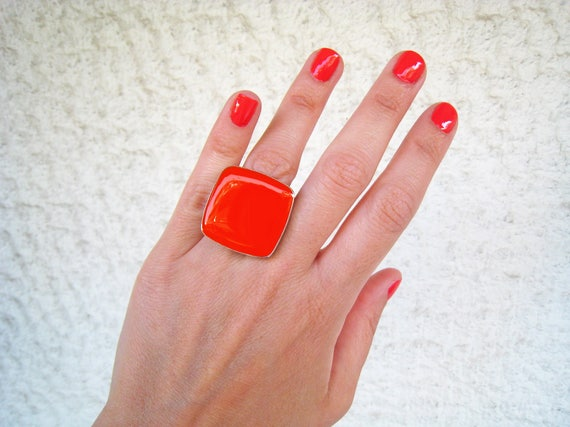 Red coral ring, coral red resin ring, red glass ring, big chunky square ring, color block jewelry, stainless steel ring, modern minimalist