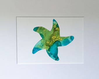 Starfish Alcohol Ink Painting / Diecut (5x7)