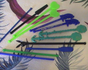 Eight Assorted 60's Swizzle Sticks (plus 5 unmarked)