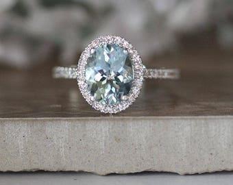 Engagement Ring, Aquamarine White Gold and Diamond Halo Ring, 14k White Gold Wedding Ring, Half Eternity Diamond Bridal Gold Band