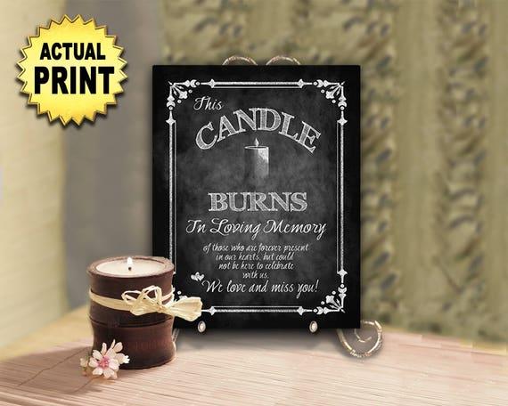 Wedding Memorial Sign | In Loving Memory Wedding Candle Memorial Sign, This candle burns sign, Candle Memorial Table, Remembrance Table sign