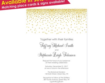 50 Gold Wedding Invitation- Elegant Wedding Invitations- Gold Wedding Invitations with RSVP- Gold Wedding Invites- Wedding Invitation Gold