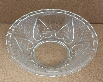 Vintage Indonesia Clear Embossed Glass Heart With Rose & Fleur de Lis Footed Candy Bowl