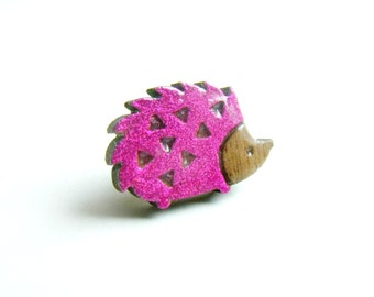 tiny hedgehog pin, lapel pin, collar pin, tie pin, pink, hedgie, cute, pink hedgehog, sweet, pin brooch, nature, British wildlife, woodland