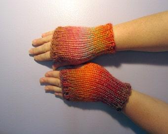 Fingerless Gloves - Pink, Purple, Green, Orange Mix Hand Knit Fingerless Gloves
