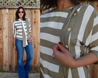 Vintage 80s Striped BLOUSE M