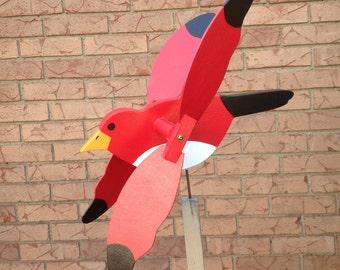 Red bird whirligig wood yard art wood whirligigs garden whirligig