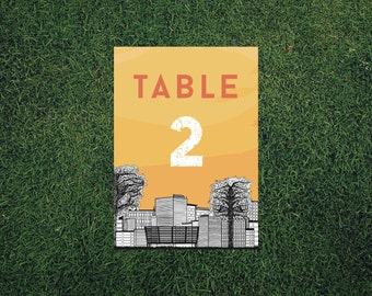 Skyline Table Number // 5x7 Printed Table Number // Wedding Decor, Modern Wedding Decor, Cityscape Table Number