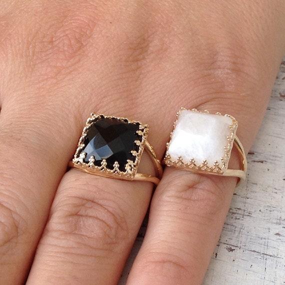 yx Ring gold black Stone ring Square Ring Stacking