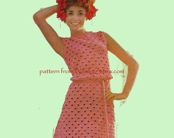 Vintage Crochet Sleeveless Dress Pattern PDF 676 from WonkyZebra