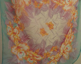 Vintage Bright Floral Chiffon Scarf