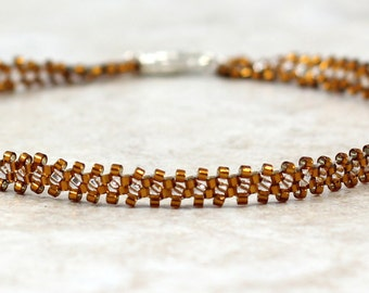 Beaded Chain Anklet - Seed Bead Anklet - Ankle Bracelet - Brown Anklet - Beadwork Jewelry - Handmade Jewelry - Summer Anklet
