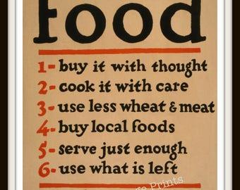 Food Don't Waste It Poster - kitchen decor - restaurant art decor - Vintage WPA Art Poster - Kitchen wall art - Food art print