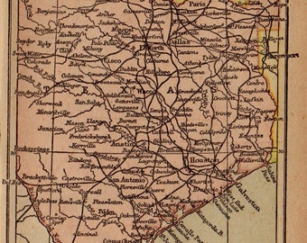 1902 Antique TEXAS Map of Texas Vintage INDIAN Territory Map Gallery Wall Art MINIATURE Map Collector Gift For Traveler Birthday 6779