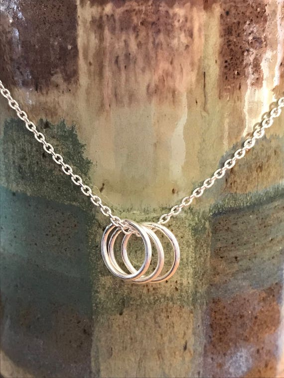 One, Two, Three circle necklace, Three Sisters, Friends, Children, Tri, 3, Fine Silver on sterling silver chain